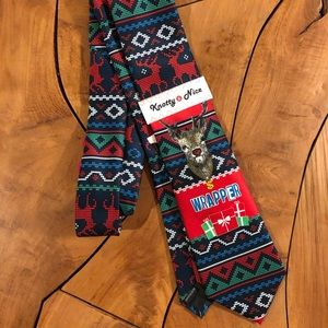 Ugly Christmas Tie Reindeer Gift Wrapper Neckwear
